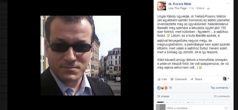 """Kocsis """"megsértett családapaként"""" alpáriskodott a Facebookon"""