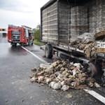 Fotók jelentek meg a kigyulladt csirkeszállító kamionról