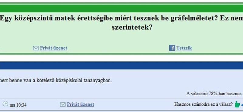 """Érettségis """"gyöngyszemek"""" a gyakorikérdések.hu-n"""