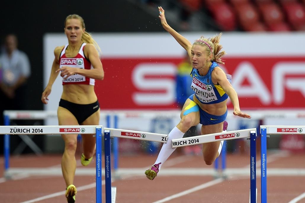 afp.14.08.13. - Zürich, Svájc: az ukrán Hanna Ryzhykova a női 400 méteres gátfutáson tört gátat az atlétika Európa-bajnokságon - 7képei, Hanna Rizikova