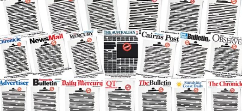 """""""Titkosított"""" címlappal küzd a demokráciáért az ausztrál sajtó"""