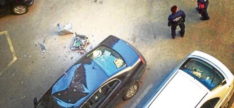 Budapesten bulizó britek kidobtak az ablakon egy tévét, amely megrongált egy autót