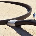 Fotók: Gigaserpenyő és óriáspáva a homokos strandon