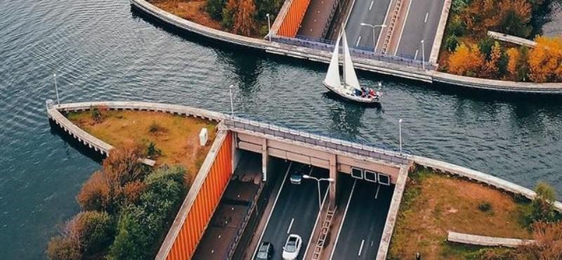 Akvaduktnak hívják ezt a csodás egyszerre autós és hajós útkereszeződést