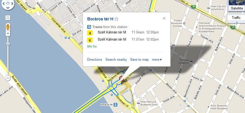 A Google mától BKV-útvonaltervezésre is jó