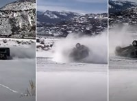 Nagyot hempergett a hóban egy Mercedes G-osztály, pedig nem így tervezték