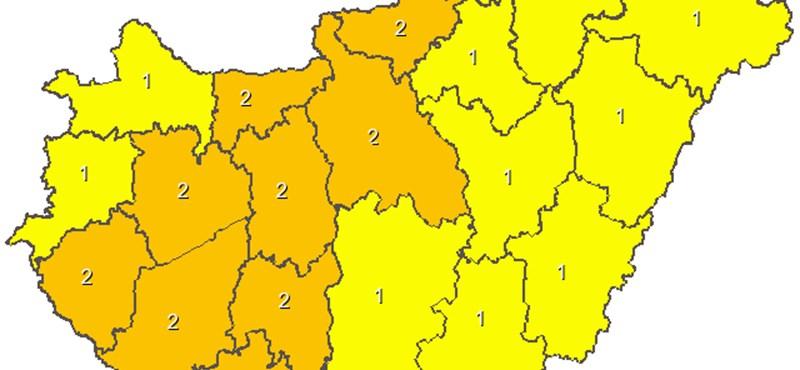 Térkép: Az egész ország területére figyelmeztetéseket adtak ki