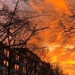 Annyira szépek volt a hamburgi naplemente színei, hogy valaki kihívta a tűzoltókat