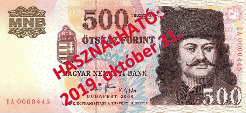 Már csak október végéig lehet fizetni a régi 500 forintossal