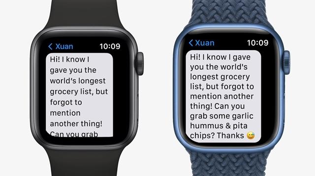 Fotó: Apple Watch 6 és Apple Watch 7 képernyője ©Apple