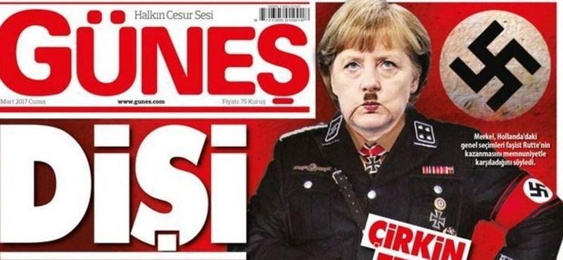 Hitlerként ábrázolja Merkelt egy török lap