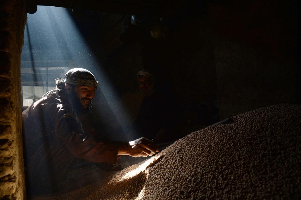 afp. hét képe 0623-0628 - Kabul, Afganisztán, 2014.06.26. afgán napszámos dolgozik a borsó gyár előtt
