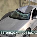 Betontömböt dobtak egy autóra egy tízemeletes tetejéről Egerben