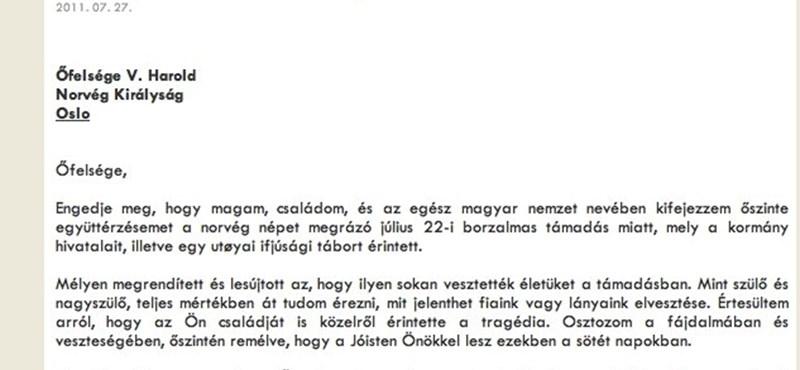 Fotó: rosszul írták a norvég király nevét Schmitt Pál levelében