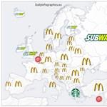 Térkép: a legnépszerűbb gyorséttermek Európa országaiban - Görögország különutas