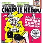 Meghan Markle nyakán térdelő Erzsébet királynővel jelent meg a Charlie Hebdo