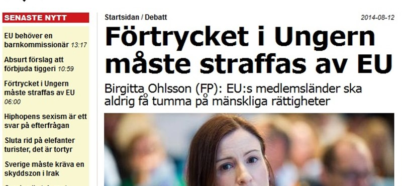 Nekiment Orbánéknak a svéd EU-ügyekért felelős miniszter