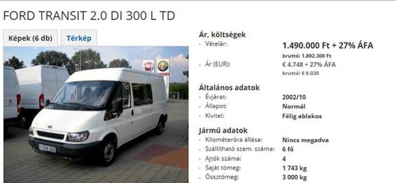 40 ezerét adták el, most 1,9 millióért hirdetik a Főtáv egyik leselejtezett autóját