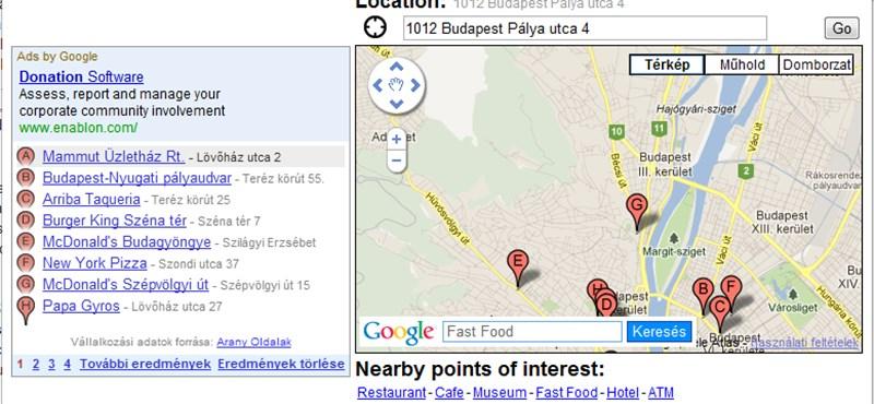 Itt a mini Google-térkép, hasznos szolgáltatásokkal