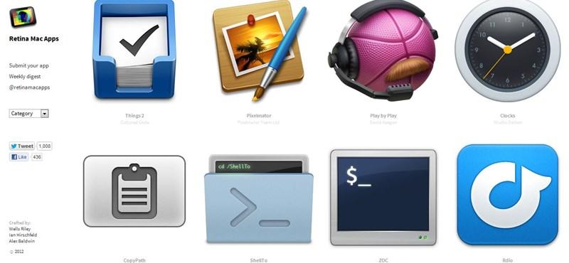 Gyűjtőoldal a Retina Display kompatibilis alkalmazásoknak