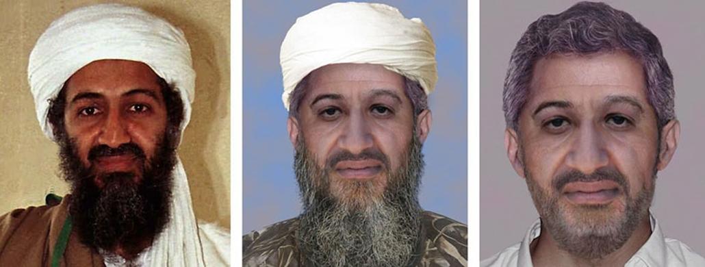 Három kép, amelyik közül a bal oldali Oszama bin Ladenről, az al-Kaida terrorszervezet vezetőjéről készült 1998 áprilisában, a következő kettő pedig digitálisan előállított fantomkép, amelyek azt mutatják, hogyan nézhet ki bin Laden napjainkban.