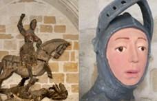 Sikerült kijavítani a körhintásra restaurált spanyol Szent György-szobrot