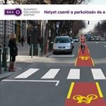Hétfőn kezdik megcserélni a bicikli- és parkolósávot az Andrássyn