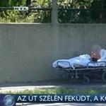 Kórházi ágyastul az út szélén hagytak egy beteget Budapesten - videó