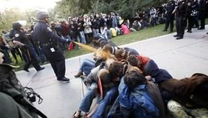 Képek: paprikaspray-vel fújták le az ülősztrájkot szervező egyetemistákat