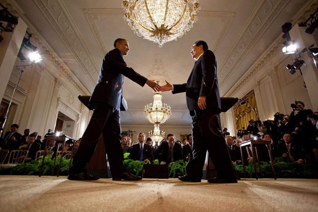lehetőleg ne - flickrCC_! - 11.10.19.  Barack Obama találkozik Kína elnökével, Hu Jintao-val a Fehér Házban, 2011. január 11-én.