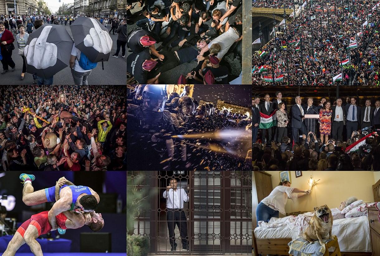 Orbán grimasza és a rohamrendőr rezzenéstelen arca - ezek voltak nálunk az év fotói