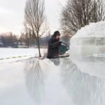 Fotók: iglut építettek a Sóstó szigetére a nyíregyházi jégbarátok