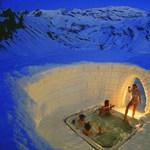 A nap képe: hóba vájt pezsgőfürdő