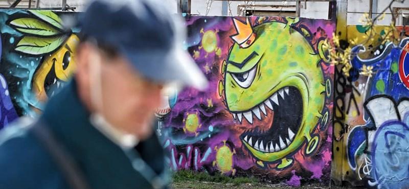 Parádés graffiti jelent meg a koronavírusról Budapesten