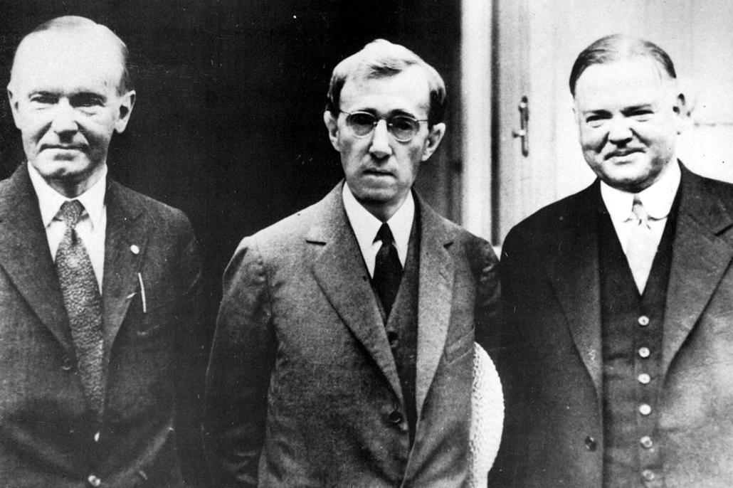 afp.1983. -  Calvin Coolidge, Woody Allen és Herbert Hoover a Zelig (1983) című film egyik jelenetében - nagyítás