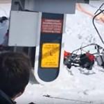 Elszabadult a sílift Grúziában, sorban repültek le róla az emberek - videó