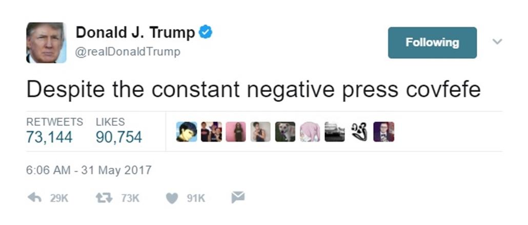 e!_trump elírás twitter potus covfefe