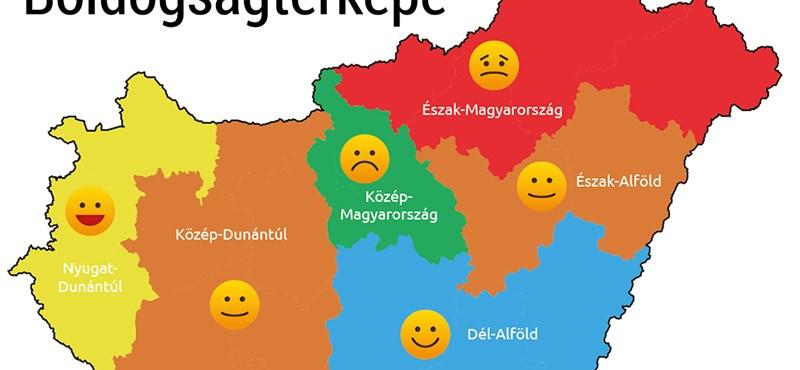 térkép magyar Élet+Stílus: Térkép készült a magyar boldogságról   HVG.hu térkép magyar