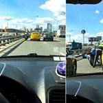 Videó: Pont a rendőrmotoros előtt kezdett izmozni a taxis