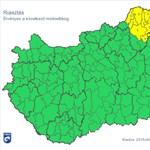 Riasztást adtak ki Magyarország csücskére