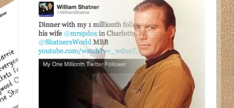 William Shatner - vacsorázni vitte egymilliomodik Twitter követőjét