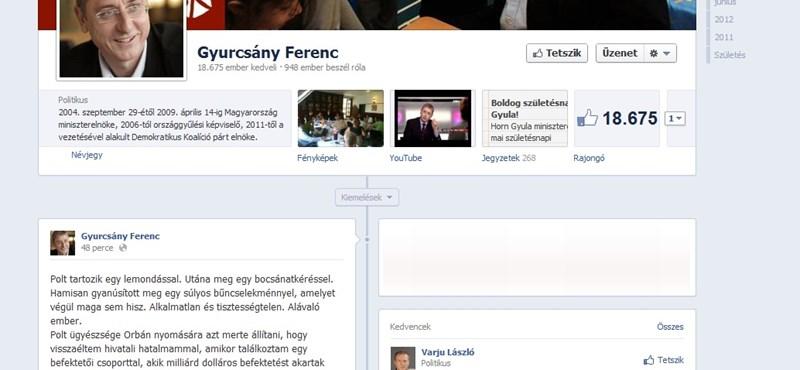 Gyurcsány kirohant a Facebookon a hírre, hogy nem nyomoznak ellene