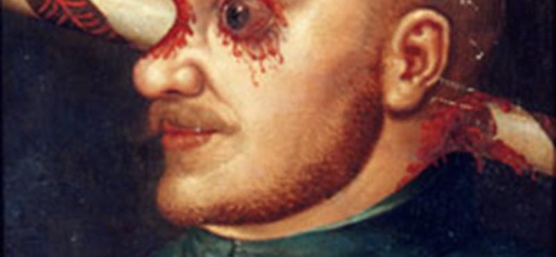Tényleg élhetett átszúrt fejjel Baksy Gergely - vigyázat, felkavaró festmény!