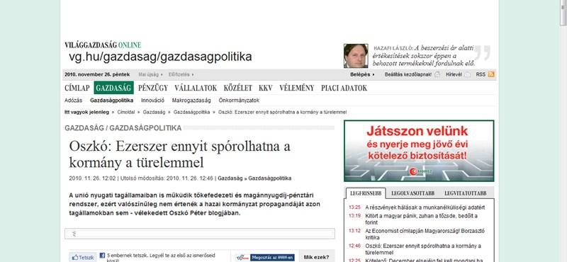 Oszkó: türelemmel ezerszer többet spórolhatna a kormány