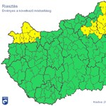 Ónos eső: Már csak elsőfokú riasztás van északkeleten