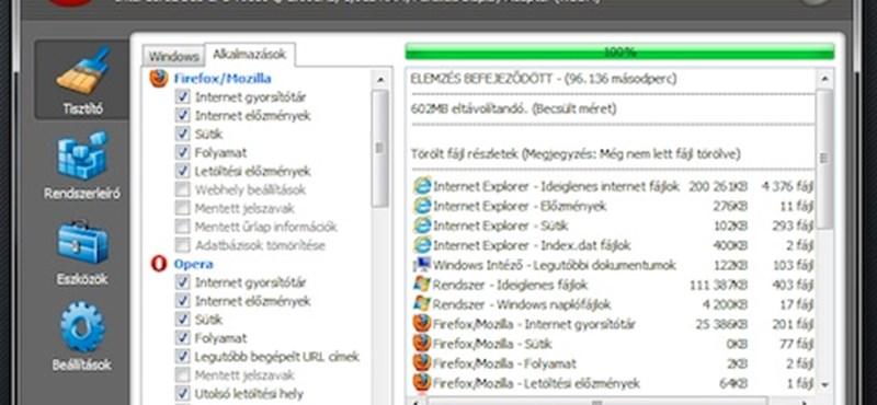 Már a Firefox 5-öt is támogatja a CCleaner