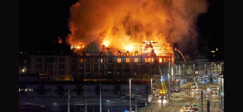 Hatalmas tűz volt Zürich belvárosában – fotók