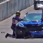 Celeb vezette a felvezetőautót egy autóverseny előtt, oda is csapta a falhoz – videó