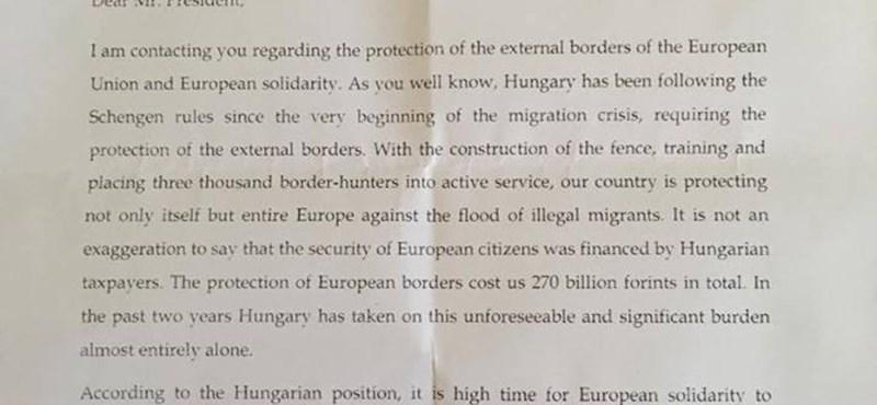 Itt a levél, amelyben Orbán Brüsszeltől kér 135 milliárd forintot