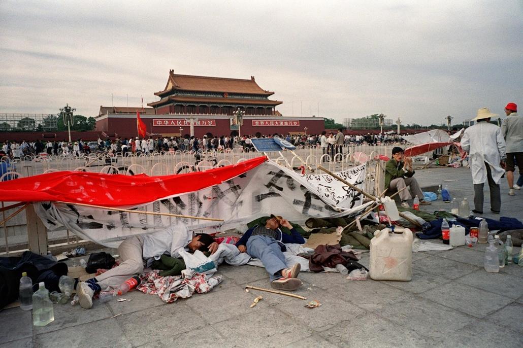 afp Tienanmen tér NAGYÍTÁS Tüntető diákok a Tienanmen téren 1989. május 21-én